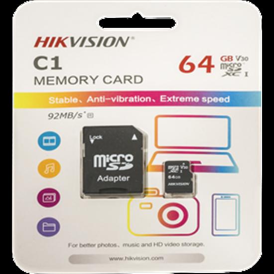 HIKVISION STORAGE HS-TF-C1 Hikvision MicroSD kártya - 64GB microSDHC™, Class 10 and UHS-I, TLC ,V30