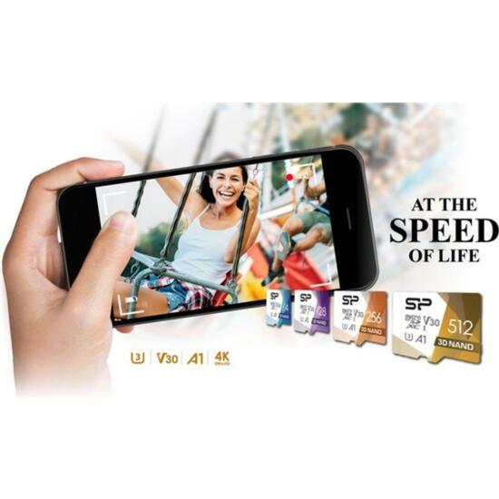 SILICON POWER SP064GBSTXDU3V20AB MicroSD kártya - 64GB microSDXC UHS-1 U3 színes + adapter